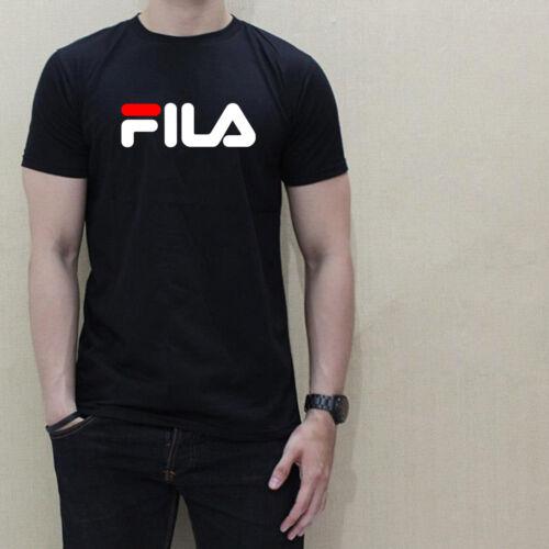 NEW FILLA LOGO men black t-shirt 100/% cotton graphic tee short sleeve famous