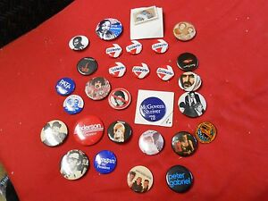 Collection of 27 PINBACKS Policatial-Music Artists-etc.& 2 Tie Tacks........SALE