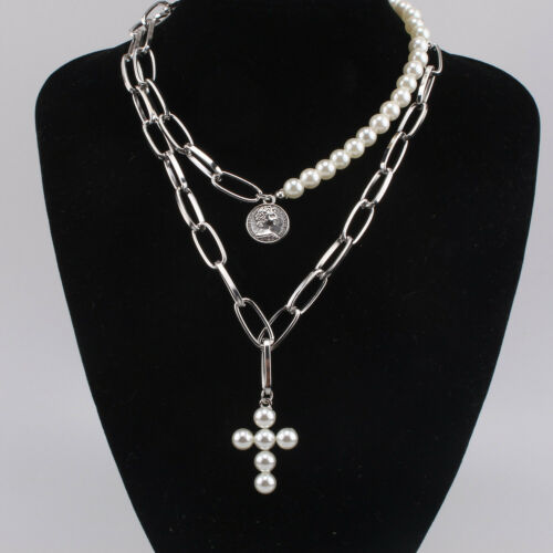 Pearl Jesus Cross Alloy Chain Choker Collar Necklace Pendant Women Jewelry Gift