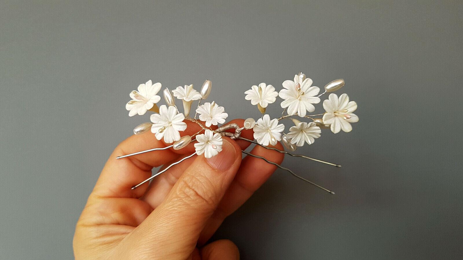 Horquillas para el Pelo-Flores BLANCAS de Porcelana-Tocado Comunión - Novias