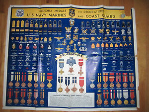 Image Is Loading 1942 U S Army Insignia Decorations Amp Medals Chart