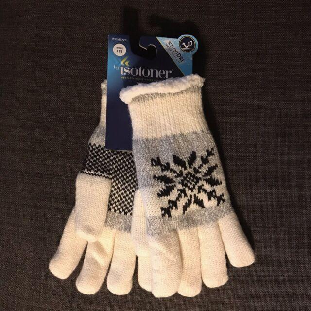 NWT Women's isotoner SmartDri Fleece Lined Knit Gloves 1 Size Ivory Snowflake