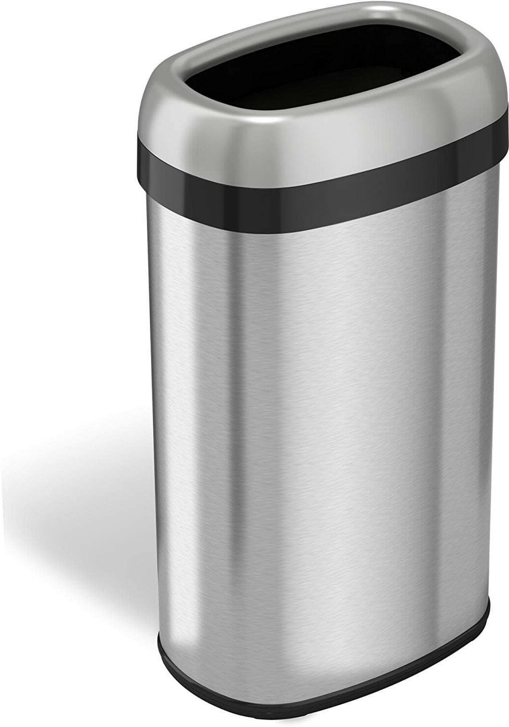 ITouchless 16 Gallon Dual-Deodorizer Oval Open Top Trash Can, Stainless Steel,