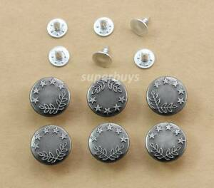 6pc-Antique-Silver-17mm-Jeans-Jacket-Denim-Buttons-Hammer-Press-Repair-Tack