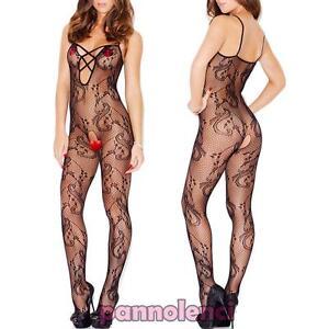 906adaccd2 Caricamento dell immagine in corso Bodystocking-donna-tutina-catsuit -pizzo-ricamo-lingerie-intimo-