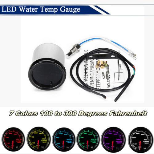 "Car 2/""//52mm 7 Colors LED Display Water Temp Gauge Meter 100 to 300° Fahrenheit"