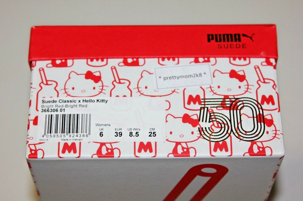 PUMA X HELLO KITTY chaussures chaussures chaussures rouge SUEDE blanc 50 ANNIVERSARY US Taille 8.5 Femme NIB 9f4cea