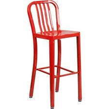 Flash Furniture 30in High Red Metal Indoor-Outdoor Barstool W/Vertical Slat Back
