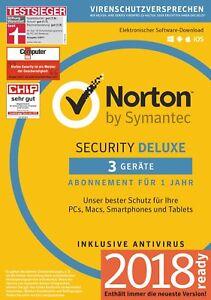 NORTON (Internet) SECURITY DELUXE 3-Geräte/1-Jahr 2018/2019 PC/Mac/Android / KEY