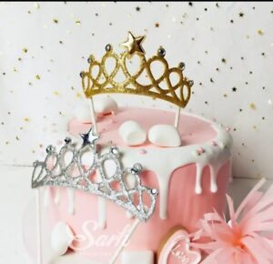 Image Is Loading Gold Glitter Tiara Crown Cake Topper Decoration