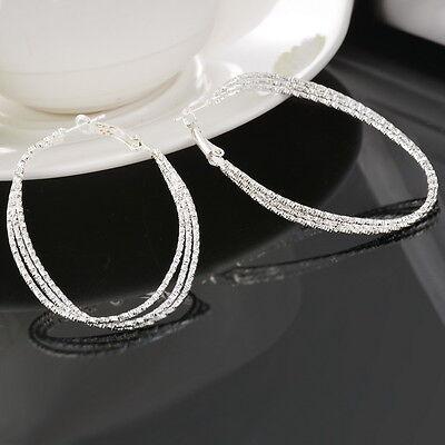 1Pair Earrings Hoop Dangle Drop Vogue Silver Plated Women Three Layers