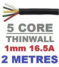 5 CORE AUTO CABLE 1.0mm 16.5 AMP CAR WIRE 2 METRES MULTICORE THINWALL 1MM  2M