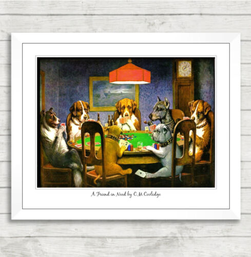 Framed Art Print A Friend in Need by C.M.Coolidge Poker Dogs Picture Poster 032
