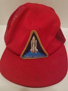 3955e3b06fe Image is loading Space-Shuttle-Mesh-Red-Trucker-Hat-Cap-Snapback-