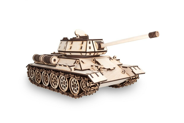 Eco Holz Art Tank T-34 - 3 D Holzbausatz Holzpuzzle Modelllbausatz Holz Panzer