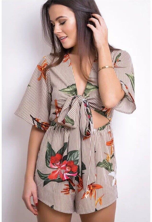 Ladies Designer Tie Front Floral Women's Playsuit Size 14 BNWT