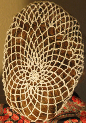 1940s Hair Snoods- Buy, Knit, Crochet or Sew a Snood    CIVIL WAR VICTORIAN Hand  Crocheted HAIR NET (SNOOD)  100% COTTON Many Colors $15.00 AT vintagedancer.com