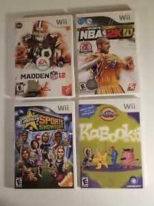 Lot Of Six (4) Nintendo Wii Games : NBA 2K10, KABOOKI, MADDEN NFL12 & CELEBRITY