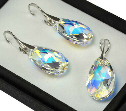 Sterling Silver Earrings//Set Crystals from Swarovski® 22mm Dangle Crystal AB