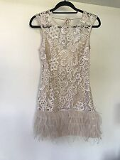 Lipsy VIP Waxed Lace Feather Trim Dress In Blush Nude Size 10 Cost £150! Party