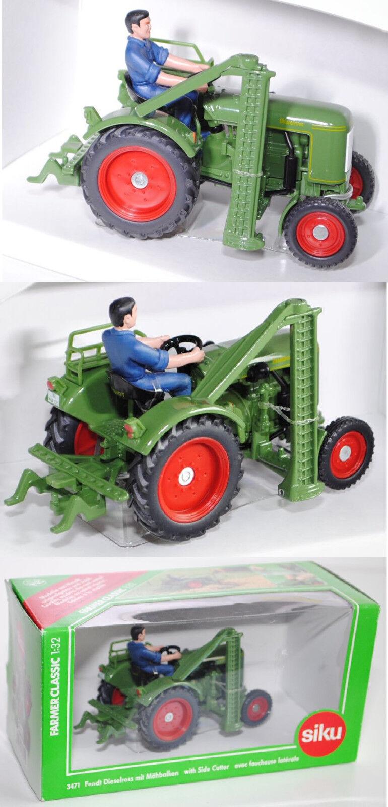 Siku Siku Siku Farmer Classic 3471 Fendt Dieselross F28 mit Mähbalken, farngrün, 1 32, OVP  | Diversified In Packaging  0a105f