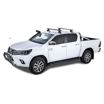 Rhino Pair of Vortex Roof Racks for TOYOTA Hilux 4dr Ute Dual Cab 2015 On Black
