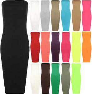 Womens Plain Shinny Boob Tube Strapless Stretch Bodycon Long Ladies Midi Dress
