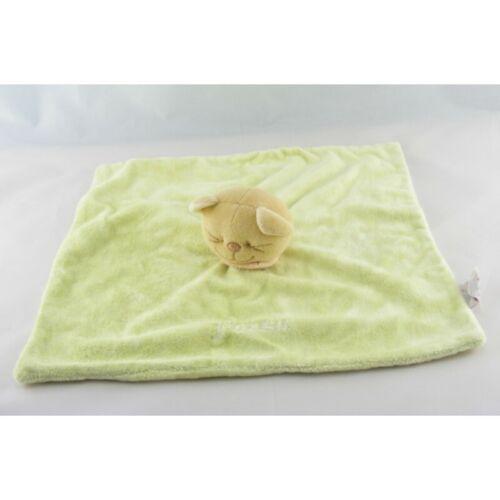 Doudou plat Chat Patou vert foulard orange Bengy Tigre Plat // Se Lion Chat