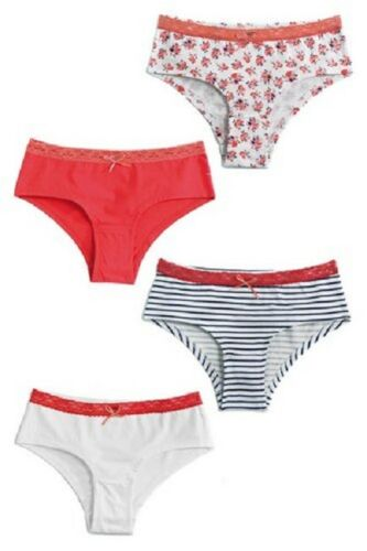 4 pair pack of girls cotton rich briefs knickers age 8-9 new
