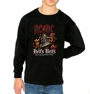 fa28fddd AC/DC HELLS BELLS t-shirt long sleeve BLACK t-shirt for children kid ...