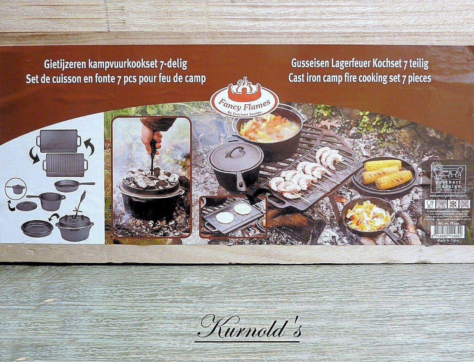 1 Dutch horno olla fuego de campamento set 7 pzas. hierro outdoor kurnolds 0188