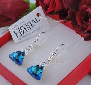 925-Sterling-Silver-Earrings-Crystals-From-Swarovski-Triangle-Bermuda-Blue-AB