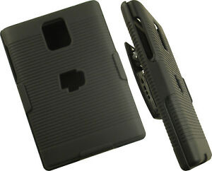 BLACK-RUBBERIZED-HARD-CASE-BELT-CLIP-HOLSTER-STAND-FOR-BLACKBERRY-PASSPORT-Q30
