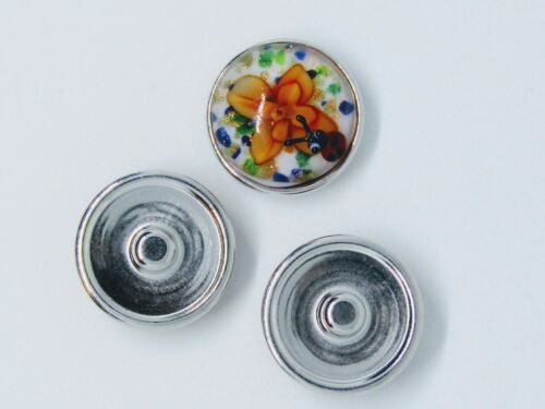 Noosa Chunks Ginger Style Snap Button Charms Handmade Murano Glass Flower 20mm