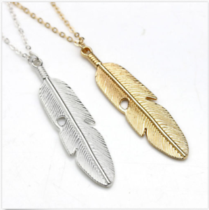 New-Women-Feather-Pendant-Long-Chain-Necklace-Sweater-Statement-Vintage-Jewelry