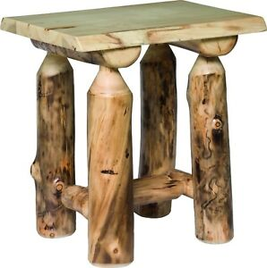 Details About Rustic Aspen Log End Table Amish Made In The Usa