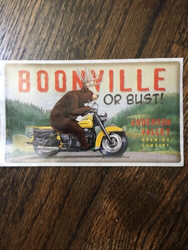 Beer STICKER ~ ANDERSON VALLEY Brewing Co BOONVILLE or Bust ~ Bear on Motorcycle