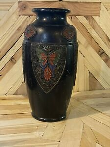 "Vtg 12""  Tokanabe Ware Pottery Vase Japanese Art Deco with Butterflies/ Leaves"