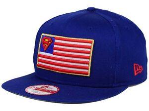b0e8580648f USA Flag SUPERMAN DC Comics New Era 9Fifty Cap Hat Snapback  30 Blue ...