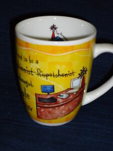 "4"" porcelain History & Heraldry TOP RECEPTIONIST coffee MUG secretary"