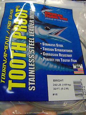 "#3 AFW TOOTH PROOF STAINLESS STEEL LEADER WIRE 32 LB 30' -.Diam .012"", .30mm"