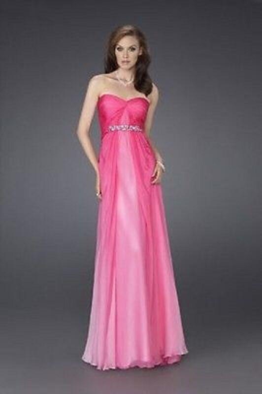 NEW LA FEMME Strapless Ombre Jewel Trim SILK DRESS GOWN SIZE 6  PINK