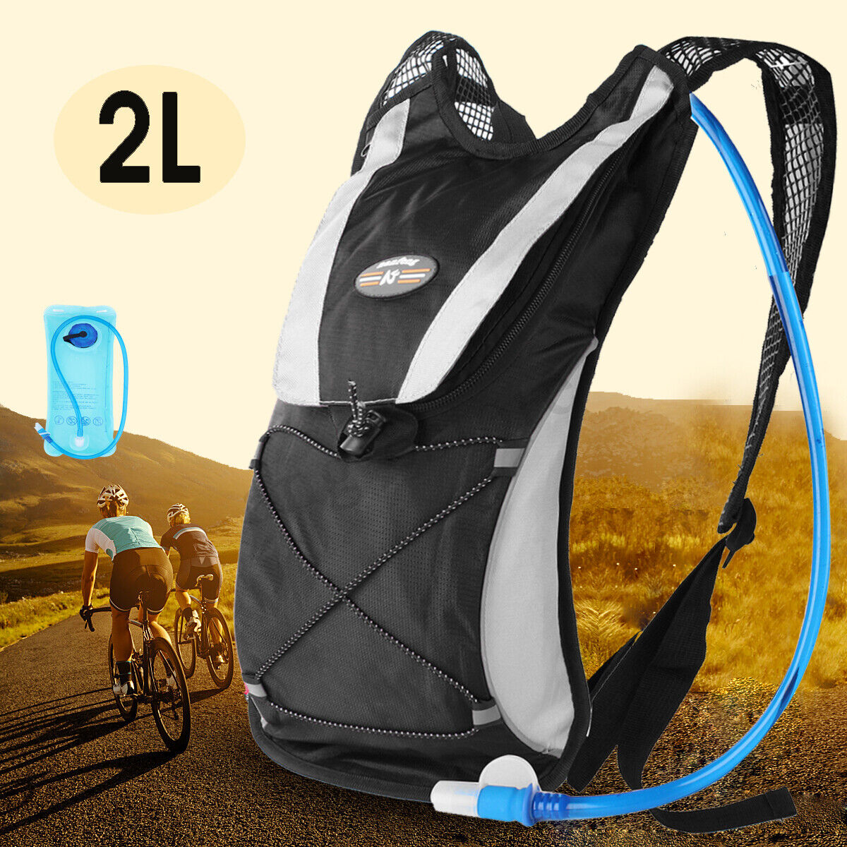 Hydration Pack Rucksack Backpack Bag With 2L Water Bladder Bag Running Cycling