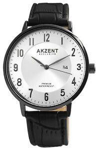 Akzent-Herrenuhr-Silber-Schwarz-Analog-Datum-Kunst-Leder-Armbanduhr-X2900189003