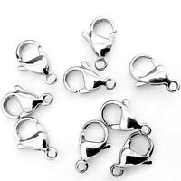 Silver Plated Lobster Clasps Claw Trigger Hook Necklace Cords 10/12/14/16mm DIY