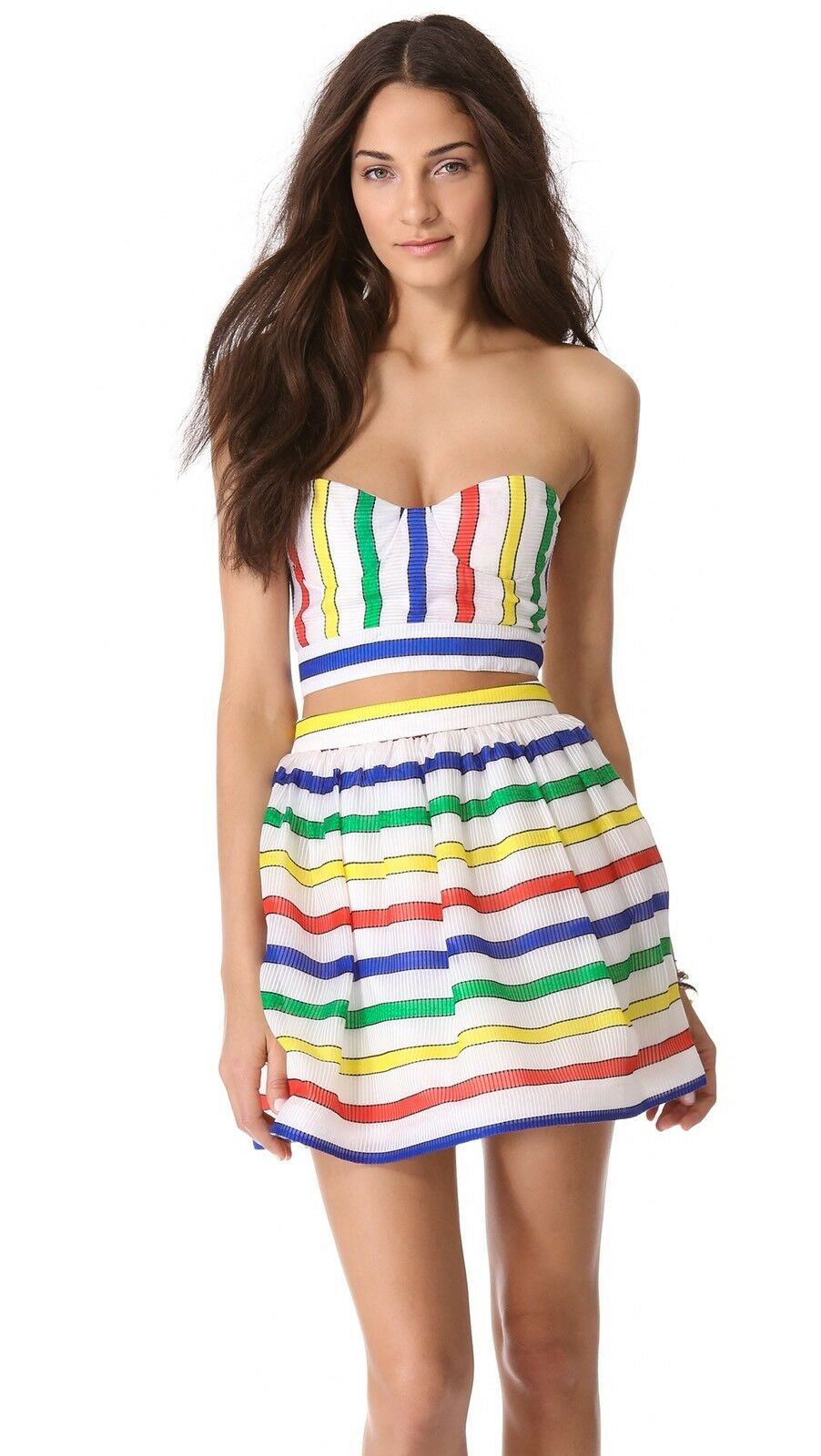 Alice + Olivia Zora Striped Bustier Bra Top & Maryna Skirt Set Größe 0 2 NWOT