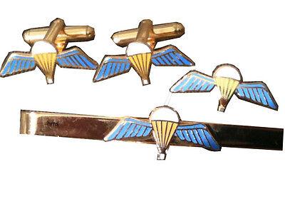 THE ARMY AIRBORNE PARAS PEGASUS CUFFLINKS TIE CLIP LAPEL BADGE SET BOX GIFT