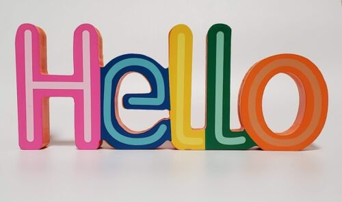 """/""""Hello/"""" Free Standing Wood Sign Orange Green Blue Yellow  10/"""" L  4/"""" H 2/"""" D Gift"""
