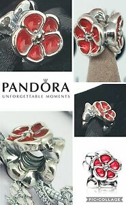 AUTHENTIC-PANDORA-SILVER-amp-ENAMEL-BRITISH-ROSE-POPPY-CHARM-BOX-BAG-amp-WRAP