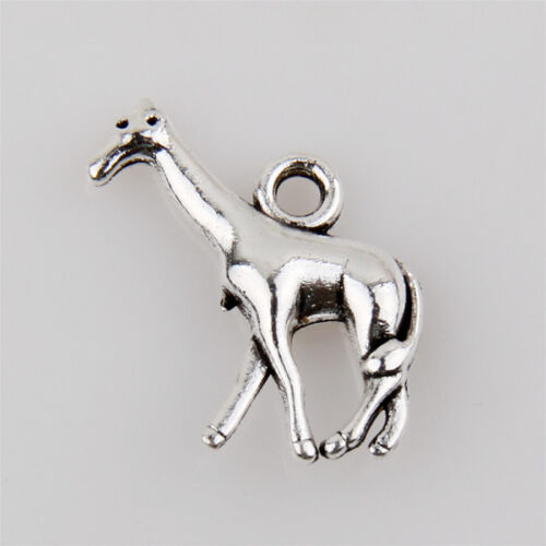 40 Girafe Tibetan Silver Charms Pendentif Bijoux Making Findings 17 mm EIF0126